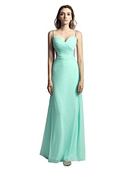 cheap -A-Line Spaghetti Straps Ankle Length Linen Prom Formal Evening Dress with Beading Pleats by Sarahbridal