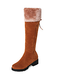 cheap -Women's Shoes Nubuck leather Winter Fall Snow Boots Fashion Boots Boots Chunky Heel Round Toe Knee High Boots Mid-Calf Boots for Casual