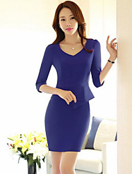 cheap -Women's Work Simple Sheath Dress,Solid V Neck Above Knee 3/4 Sleeve Polyester Fall Mid Rise Micro-elastic Thin