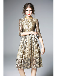 cheap -Women's Vintage Street chic A Line Swing Dress - Solid Colored Jacquard, Mesh High Waist Shirt Collar