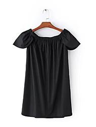 abordables -Tee-shirt Femme,Couleur Pleine Sports Actif Printemps Eté Manches courtes Bateau Autres Moyen