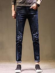 Masculino Simples Cintura Média Micro-Elástica Jeans Calças,Sólido Poá Todas as Estações