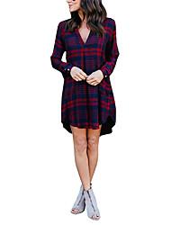 baratos -Mulheres Reto Vestido Xadrez Decote V Cintura Alta Mini
