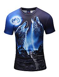 preiswerte -Herren Druck Freizeit Aktiv Punk & Gothic Alltag Ausgehen T-shirt,Rundhalsausschnitt Frühling Sommer Kurze Ärmel Polyester Elasthan Mittel