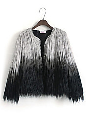 Недорогие -Жен. На каждый день Осень Обычная Пальто с мехом Круглый вырез, Простой Контрастных цветов Искусственный мех Крупногабаритные