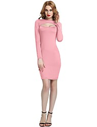 cheap -Women's Party Club Vintage Casual Sexy Bodycon Sheath Dress,Solid Round Neck Above Knee Long Sleeve Rayon Polyester Spandex All Season