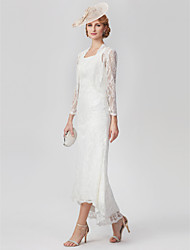 cheap -A-Line Scoop Neck Asymmetrical Lace Mother of the Bride Dress with Lace Pleats by LAN TING BRIDE®