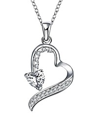 cheap -Women's Geometric Casual Heart Sweet Lovely Pendant Necklace Cubic Zirconia Copper Pendant Necklace , Wedding Gift