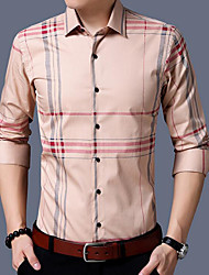 cheap -Men's Going out Casual/Daily Street chic All Seasons Shirt Shirt Collar Long Sleeves Polyester