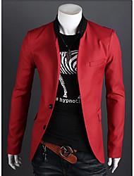 Недорогие -Для мужчин На каждый день Зима Блейзер Рубашечный воротник,Простой Однотонный Обычная Длинный рукав,Полиэстер,Чистый цвет