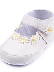 cheap -Girls' Shoes Leatherette Spring / Fall Comfort / First Walkers / Crib Shoes Flats Appliques / Magic Tape for White / Black