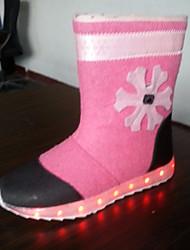 Para Meninas sapatos Flocagem Inverno Outono Botas da Moda Botas Botas Cano Médio para Casual Rosa claro