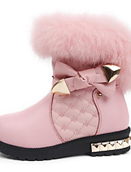 cheap -Girls' Shoes Cowhide Winter Fall Comfort Snow Boots Boots Walking Shoes Mid-Calf Boots Bowknot for Casual Pink Black