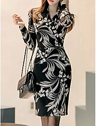 Недорогие -Жен. Для клуба Офис Оболочка Платье С принтом С высокой талией V-образный вырез Выше колена