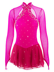 cheap -Figure Skating Dress Women's Girls' Ice Skating Dress Peach Spandex Rhinestone High Elasticity Performance Skating Wear Handmade Jeweled