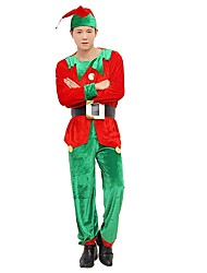cheap -Elf Pants Christmas Dress Male Christmas Festival / Holiday Halloween Costumes Red Color Block