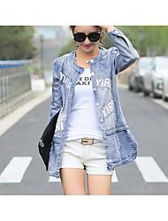 economico -Giacca di jeans Da donna Quotidiano Vintage Inverno Primavera,Tinta unita Rotonda Cotone Acrilico Standard Maniche corte A pieghe