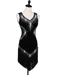 cheap -Latin Dance Dresses Women's Performance Velvet Crystals/Rhinestones Sleeveless High Crystal