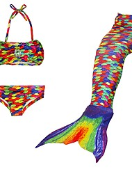 cheap -The Little Mermaid Swimwear / Bikini Christmas / Masquerade Festival / Holiday Halloween Costumes Rainbow Rainbow Mermaid and Trumpet