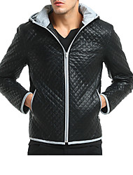 cheap -Men's Sports Active Winter Fall Leather Jacket,Solid Stand Long Sleeve Regular Lambskin