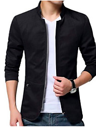 cheap -Men's Cotton Jacket - Solid Colored Stand