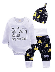 cheap -Baby Unisex Daily Going out Print Clothing Set, Cotton All Seasons Simple Casual Long Sleeves White