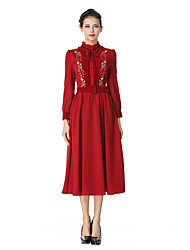 Women's Going out Casual/Daily Simple Vintage A Line Sheath Dress,Solid Turtleneck Midi Long Sleeve Cotton Polyester Winter Fall High