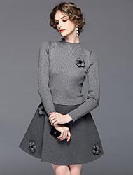 abordables -Mujer Punto Vestido Noche Chic de Calle,Jacquard Escote Chino Hasta la Rodilla Mangas largas Poliéster Invierno Verano Tiro Medio Elástico