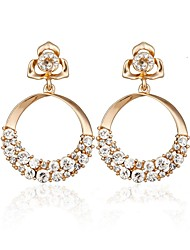 cheap -Women's Rhinestone Stud Earrings / Hoop Earrings - Vintage / Statement / Fashion Gold / Silver Circle / Four Leaf Clover Earrings For