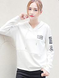 cheap -Women's Plus Size To-Go Simple Hoodie Letter Hooded Without Lining Hoodies Stretchy Polyester Long Sleeve Fall/Autumn