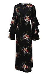 cheap -Women's Holiday Vintage Cotton Sheath Dress - Print Maxi / Fall / Winter / Ruffle / Floral Patterns