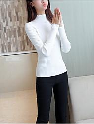 Dámské Jednoduchý Běžné/Denní Krátké Rolák Jednobarevné,Dlouhý rukáv Kulatý Polyester Zima Podzim Neprůhledné Lehce elastické