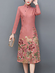 baratos -Mulheres Bainha Vestido - Fenda Estampado Colarinho Chinês