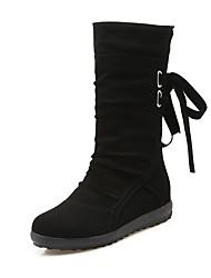 Недорогие -Для женщин Обувь Нубук Зима Осень Модная обувь Ботинки На низком каблуке Круглый носок Ботинки для Повседневные Для праздника Черный