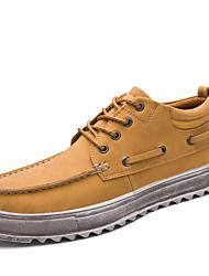 Masculino sapatos Pele Inverno Outono Conforto Oxfords Botas Curtas / Ankle para Casual Preto Castanho Claro Castanho Escuro