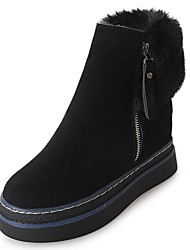 cheap -Women's Shoes PU Nubuck leather Winter Fall Fashion Boots Comfort Boots Flat Heel Round Toe for Casual Black