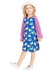 cheap -Girl's Daily Holiday Striped Print Dress,Cotton All Seasons Long Sleeves Cute Casual Blue