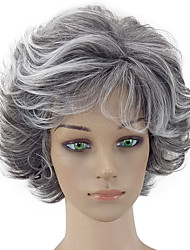 cheap -Synthetic Wig Curly Layered Haircut Gray Women's Capless Natural Wigs Short Synthetic Hair