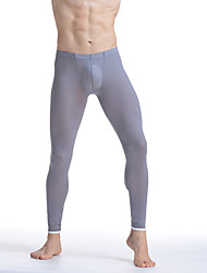 cheap -Men's Cotton Nylon Sexy Long Johns Solid Colored Basic Mid Waist