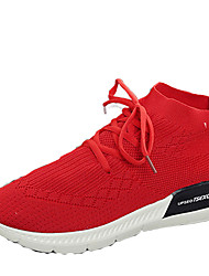 cheap -Women's Sneakers Running Comfort Knit Spring Fall Athletic Casual Outdoor Lace-up Flat Heel Ruby Black White Flat