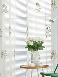 cheap -Grommet Top Double Pleat Pencil Pleat Curtain Casual Floral Bedroom Polyester Material Sheer Curtains Shades Home Decoration