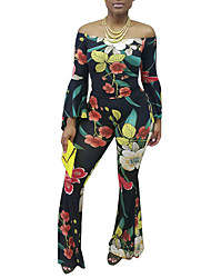 cheap -Women's Daily Going out Vintage Casual Sexy Winter Fall Blouse Pant SuitsFloral Color Block Boat Neck Long Sleeve Floral Sexy Polyester