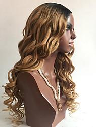 Недорогие -Натуральные волосы Бесклеевая кружевная лента Лента спереди Парик Бразильские волосы Естественные кудри Парик Стрижка боб Стрижка каскад С чёлкой 130% Плотность волос Природные волосы 100