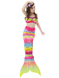 cheap -The Little Mermaid Skirt Bikini Swimwear Children's Christmas Masquerade Festival / Holiday Halloween Costumes Yellow Red Blue Color Block