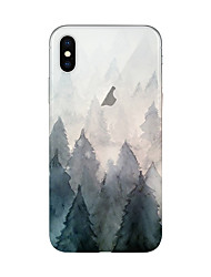 billige -Etui Til Apple iPhone X iPhone 8 Plus Transparent Mønster Bagcover Træ Blødt TPU for iPhone X iPhone 8 Plus iPhone 8 iPhone 7 Plus iPhone