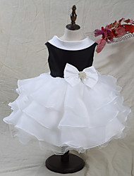 cheap -A-Line Knee Length Flower Girl Dress - Organza Satin Sleeveless Jewel Neck with Beading Bow(s) Color Block by LAN TING BRIDE®