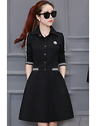 cheap -Women's Daily Work Shirt Dress,Solid Shirt Collar Knee-length Long Sleeve Cotton Polyester Fall Mid Rise Inelastic Opaque