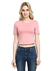 cheap -Women's Daily Club Vintage Casual Sexy Spring All Seasons T-shirt,Solid Round Neck Short Sleeve Rayon Polyester Medium