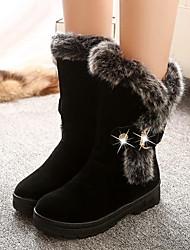 Недорогие -Для женщин Обувь Полиуретан Зима Осень Зимние сапоги Ботинки На низком каблуке Круглый носок Сапоги до середины икры для Повседневные