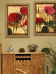 cheap -Vintage Floral/Botanical Illustration Wall Art,PVC Material With Frame For Home Decoration Frame Art Living Room Bedroom Kitchen Dining